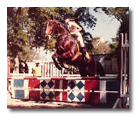 Picture of Carla on horse jumping competition