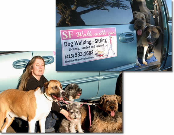 Two pictures of Carla with a small group of dogs next to her van